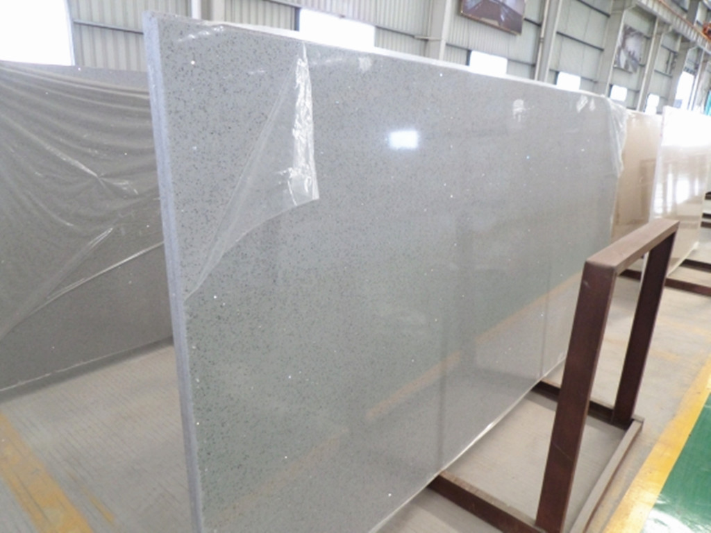 Crystal Light Grey Quartz Slab & Countertop Slab direct from China ...