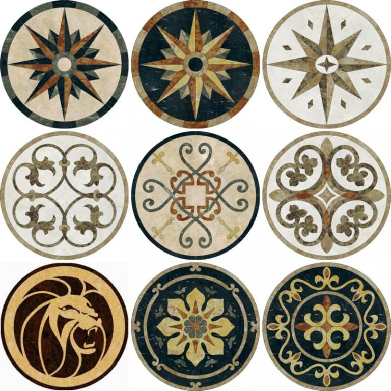 Marble Floor Inlay Cutting : Marble tile floor medallions yeyang stone group